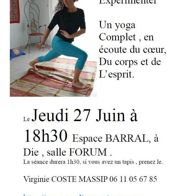 Jeudi 27 Juin à 18h30 – Venez expérimenter un cours de yoga gratuit